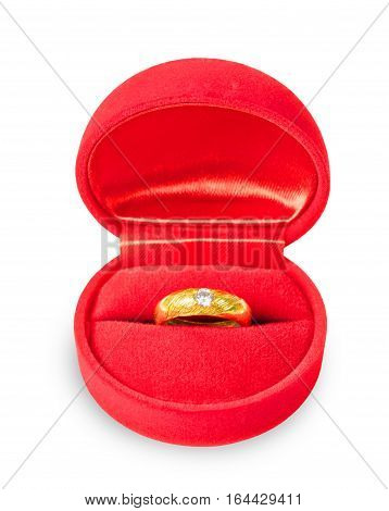 box with a ring marriage proposal isolated on white background Saved clipping path.