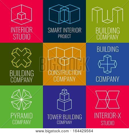 Architectural firm, interior design studios, construction company line vector logos with 3D isometric cubes structure. Set of logo for building company, illustration of structure logo
