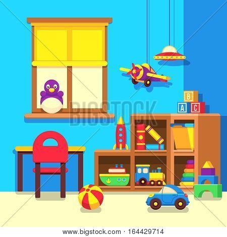 Preschool kindergarten classroom with toys cartoon vector illustration. Room with toys in kindergarden, interior of play room illustration