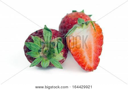 Group Of Of Red Ripe Strawberry Fruit Isolated On White Background