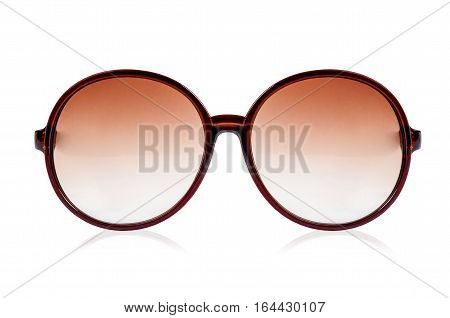 Brown sunglasses isolated on white background. With clipping path