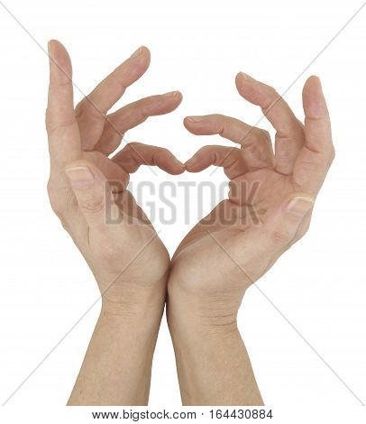 Simple Symbol of Love  - female hands touching together to make a heart symbol isolated on a white background