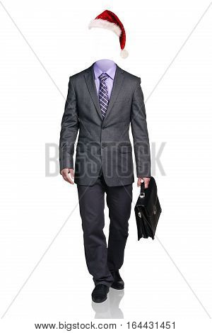 Headless businessman with briefcase walking, isolated on white.