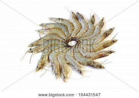 Fresh uncooked shrimp isolated on white background, food.