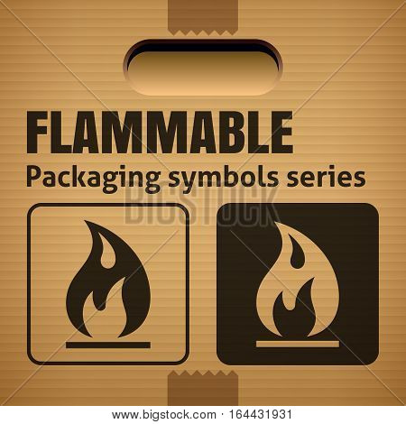 FLAMMABLE packaging symbol on a corrugated cardboard box. For use on cardboard boxes packages and parcels. Vector illustration