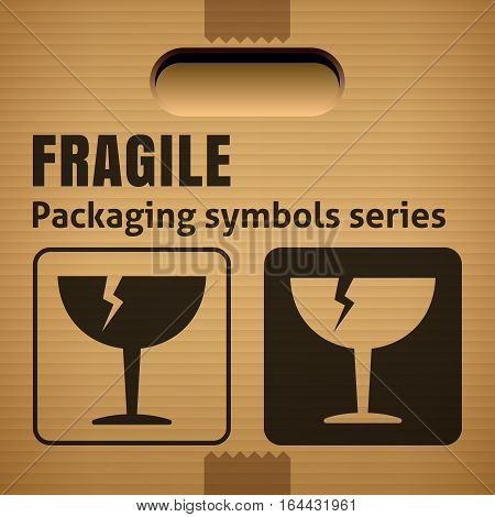 FRAGILE or Breakable Material packaging symbol on a corrugated cardboard box. For use on cardboard boxes packages and parcels. Vector illustration