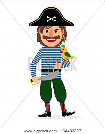 Pirate happy cartoon character with sword and parrot. Vector icon on white background