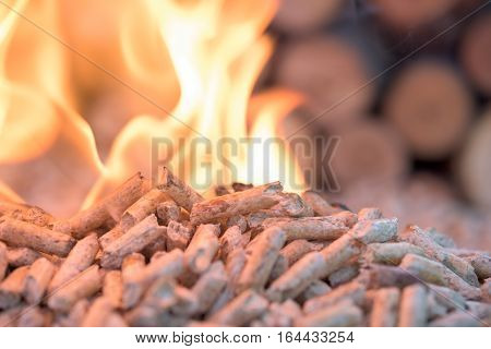 Pellets in flames- oak biomass close up