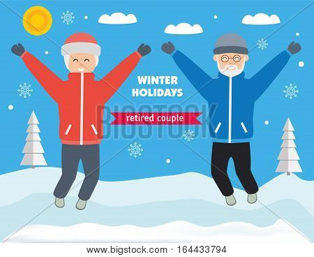 Winter holiday elderly couple. Grandparents jump with delight around snowy valley with trees Sunny winter day. Flat style illustration.
