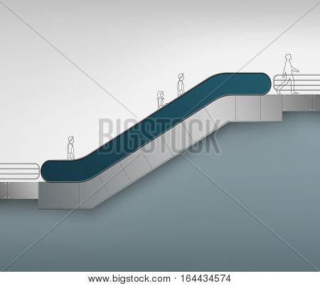 Vector Blue Modern Escalator with Place for Advertising Side view Isolated on Background