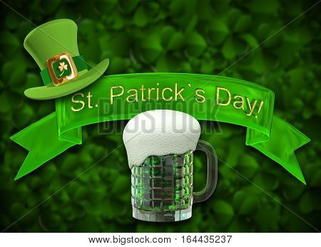 3D Illustration of a Mug of Green Beer on a Green Background