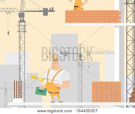 When a brick fell on the head of the worker he was injured because he was in a helmet. Vector illustration