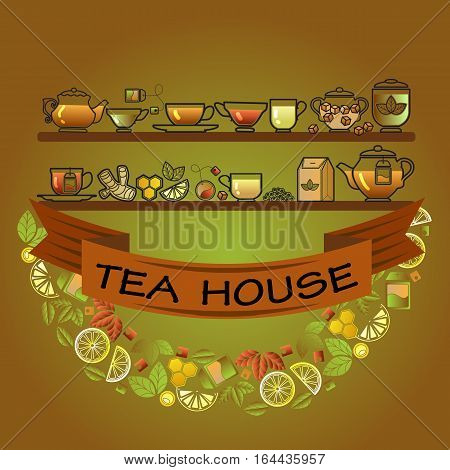 Tea house card. Cup, leaf, lemon,  pot and brown ribbon on green background. Vector template.