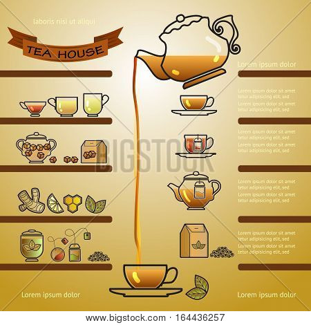 Tea house card. Illustration of cup, leaf, lemon,  pot and brown ribbon.  Vector menu template.