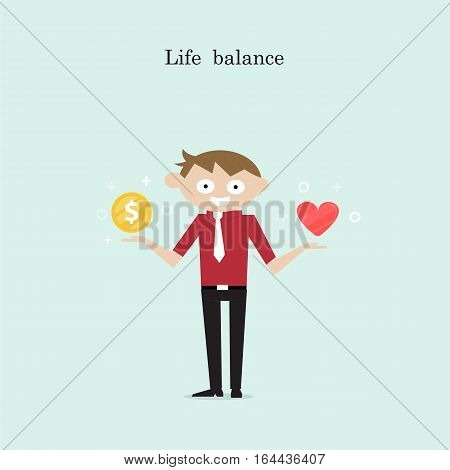 ManagerOffice Worker or businessman with the golden coins and red heart icon on his hand.Concept of work and life balance.Vector flat design illustration