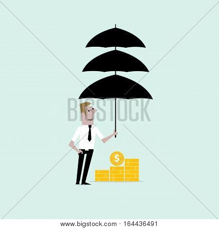 Manageroffice worker or businessman with the beard holding triple umbrella over golden coins. Concept of business insurance or protection.Vector flat design illustration