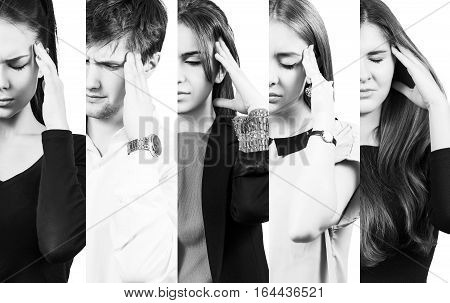 Half collage of people with a headache over white background
