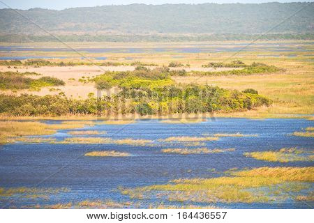 In South Africa   Pond Lake  Nature  Reserve And Bush