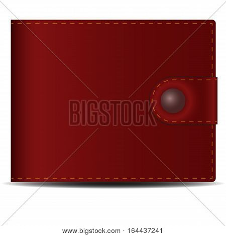 Men's wallet. Brown leather men's purse with a metal button. Vector image.