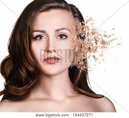 Stylish woman face made from crumbly powder isolated on white background