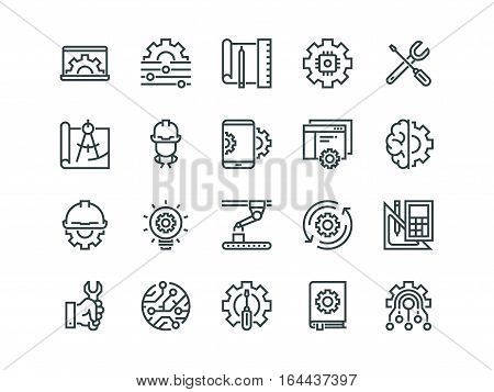 Engineering. Set of outline vector icons. Contains such Icons as Manufacturing, Engineer, Production, Settings and more.