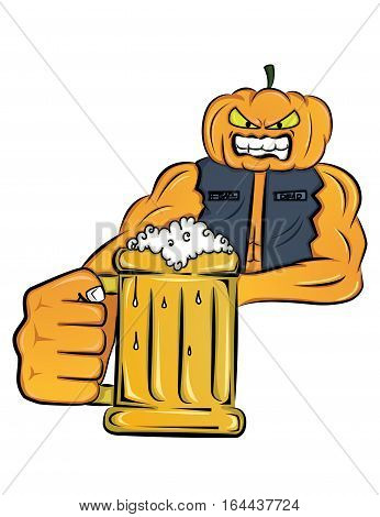 Mister Pumpkin holding glass of beer cartoon character. Vector illustration.
