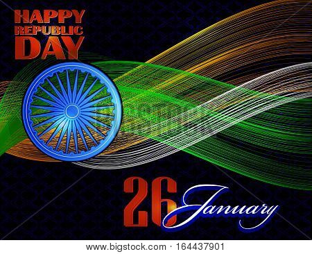 Concept unusual background design for Indian republic day, Bharat day and independence day. vector illustration
