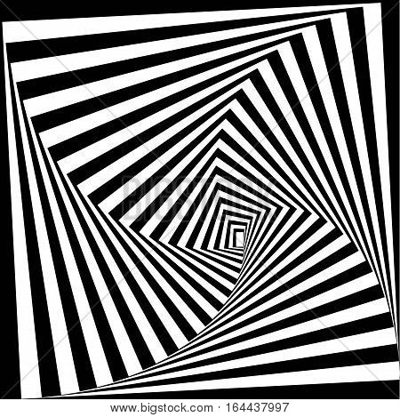 Black and white optical illusion. Vector background. Visual Art.