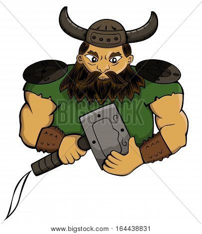 Viking Chief with Hammer Weapon Cartoon Character. Vector Illustration.