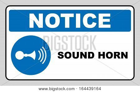 Sound horn sign. Information mandatory symbol in blue circle isolated on white. Vector illustration. Notice label