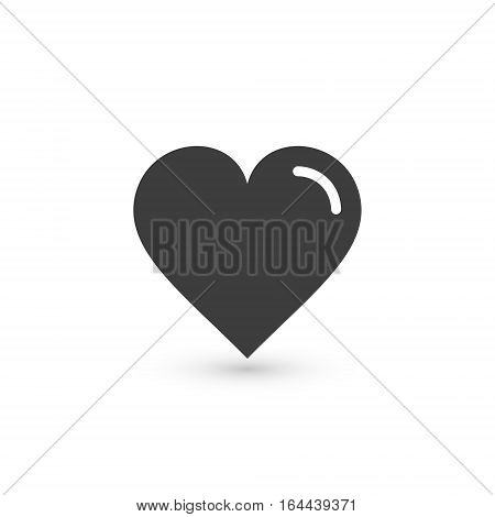 Heart Icon Vector. Love symbol. Valentine's Day sign isolated on white background with shadow Flat style for graphic and web design logo.