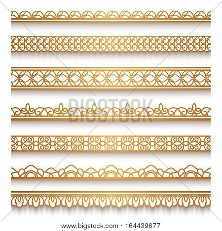 Set of vintage gold ornamental borders lace ribbons decorative golden lines on white