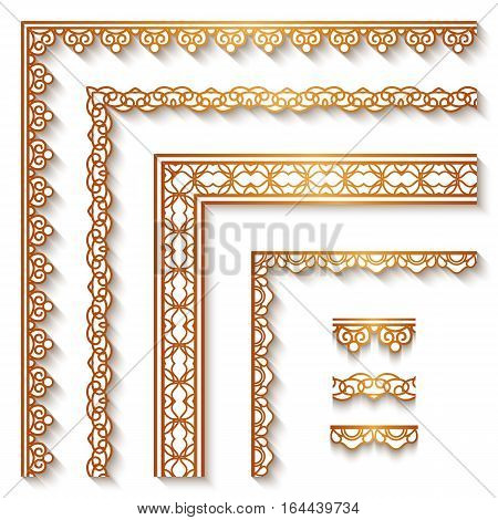 Set of vintage gold corners and borders ornamental decoration on white