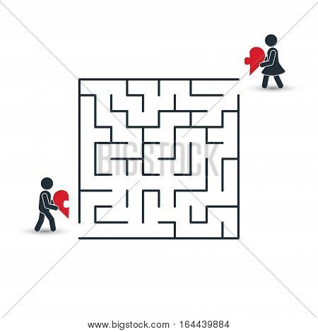 Love maze concept. Boy is going to his girlfriend through the Labyrinth of Heart. Vector Illustration.