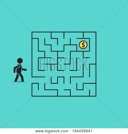 Man in labyrinth search money coin vector business concept illustration.