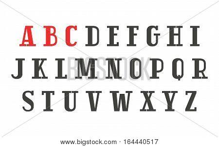 Slab serif font in retro style. Isolated on white background