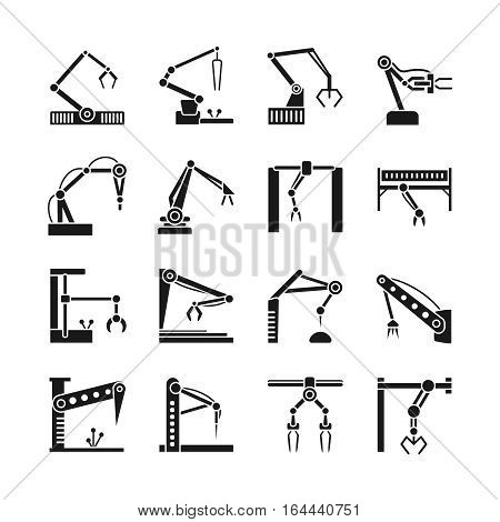 Robot arm icons. Industrial manufacturing assembly robotics line vector illustration. Machine industry manufacturing equipment