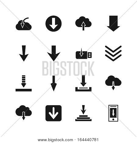 Download file icons. Vector down digital arrow buttons. Downloading icon of set illustration