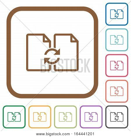 Swap documents simple icons in color rounded square frames on white background