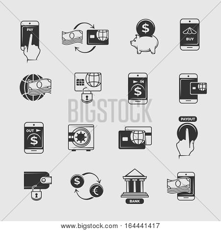 Phone payment, mobile internet banking, electronic money transfer vector icons. Transaction and commerce with telephone illustration