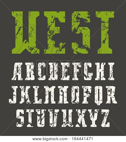 Narrow serif font in retro style with shabby texture. Print on black background