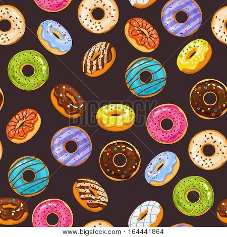 Vector seamless pattern with colorful glaze and sprinkles donuts and chocolate donut. Background fresh and yummy donuts illustration