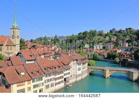 The picture was taken in Switzerland. The picture shows the view of the old town of Bern.
