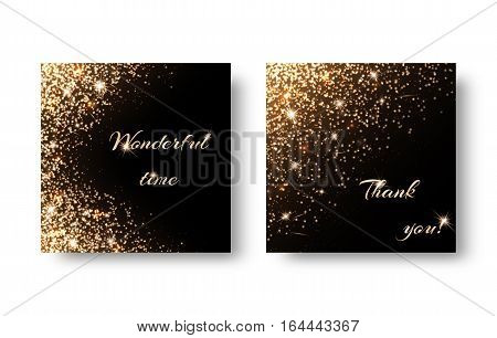 Set of backgrounds with gold glittering ornaments. Design for greeting card for Christmas birthday Valentines Day.