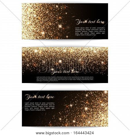 Set of banners with golden light effects on black background.