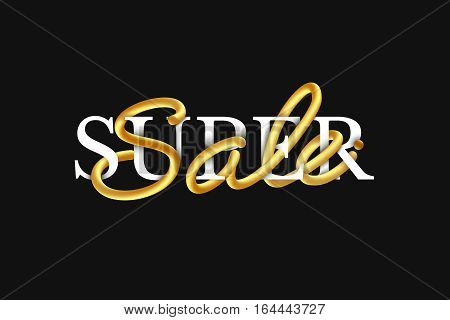 Super sale. Intertwined golden handwriting. Design for the decoration of sales.