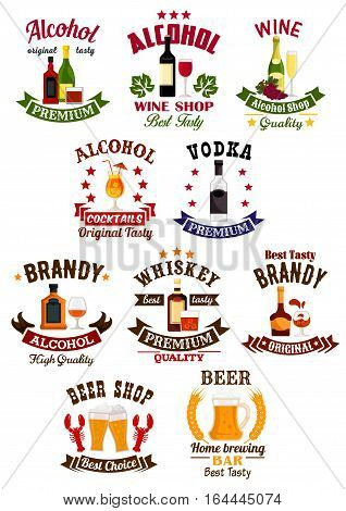 Alcohol drinks badge set. Wine, beer, vodka, cocktail, whisky, brandy and champagne, supplemented by ribbon banner, wheat, grape bunches and stars. Liquor store, wine shop, bar or brewery sign design
