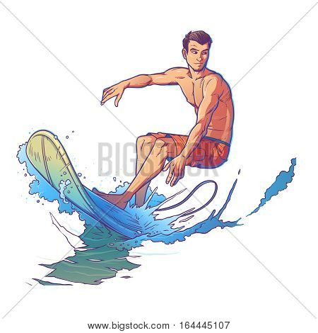 Vector illustration of a surfer riding a big wave. Print for T-shirts