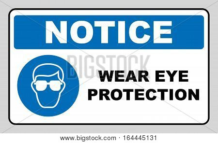 Wear eye protection sign. Information mandatory symbol in blue circle isolated on white. Vector illustration. Notice label