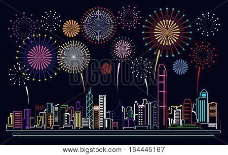 Cityscape Building Line Hong kong city and firework Vector Illustration design